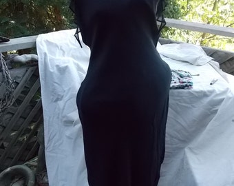 Lapis Silk Chiffon Dress with Hankerchief Hem and Sleeves  a Halloween must have for Sexy Witch sz Medium 10 12