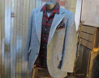 Blue Harris Tweed Jacket Vintage Herringbone wool coat 70s vintage Harris Tweed Rare color S  M