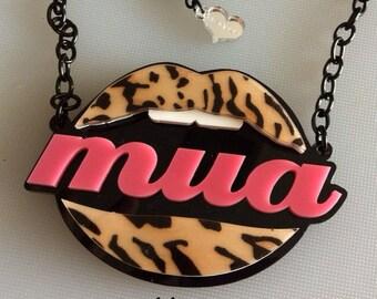 sale!! LEOPARD MUA LIPS necklace laser cut acrylic-reduced price