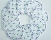 Cotton Rounds Washable Reusable Make-up Remover Pads Purple Rosebud Cosmetic Rounds, Ready to ship