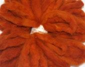 Alpaca Fiber, Hand Dyed Roving, Spinning Fiber, Felting, Doll Hair - Hand Dyed Aztec Gold 4 oz.