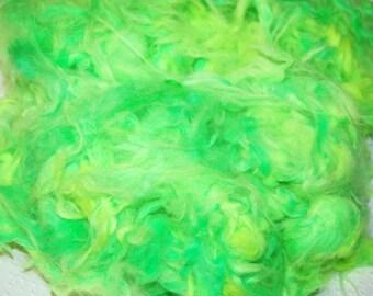 Angora Rabbit Fur, German Giant, Down, Fur, Loose Fiber, Batt, Spinning Fiber, Felting Fiber, Nuno Felting, Hand Dyed Kelly Green 1 oz.