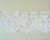 Vintage White Chantilly Lace Flat Trim with Scalloped Edge - 1-7/8 inch wide - By the Yard