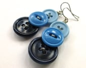 Ombre Blue Three Button Dangle Earrings