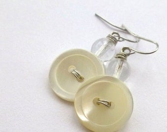 Pearl White Vintage Button Earrings with clear beads