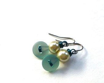 Small Turquoise Aqua Pearl Vintage Button Dangle Earrings - Shabby Chic