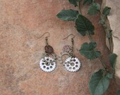 Bike Gear Earrings with Mixed Metal Dangles in Antique Gold, Copper and Silver