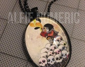 Black Metal Dia De Los Muertos Sugar Skulls and Little Girl Glass Necklace