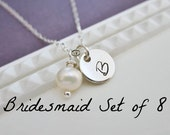 Personalized silver initial bridesmaid necklace, bridesmaid gift, bridesmaid jewelry, pearl necklace, initial necklace, set of 8 necklaces