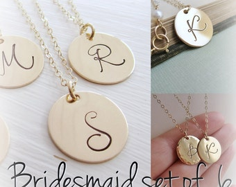 Set of SIX 6 bridesmaids necklaces, personalized initial necklace, large gold initial, monogram necklace, script font, weddings