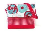 Purse / Crossbody Bag / Shoulder Bag / Gadget Case / Tablet Case / ipad Case /  zippered closure / Aqua  Red / Mod Floral / Gingham