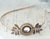 Copper crystal jewel headband bridal art nouveau wedding head piece vintage style