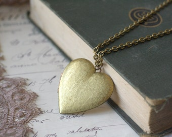 Heart locket necklace vintage brass long retro Valentines day gift love girlfriend wife keepsake