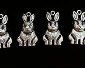 DESTASH 4 Rabbit Charms Antiqued Silver Color