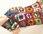 Handmade, Colorful Crochet Granny Square Scarf, Long Scarf, Granny Wrap, Wool Scarf