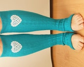 Turquoise Blue Knit Leg Warmer with Heart Lace, boot sock over the knee, chunky leg warmers