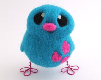 Needle Felted Bird Turquoise and Hot Pink Love Bird