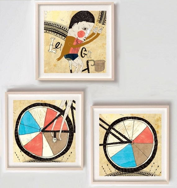 Print, Inspirational art, Bicycle lover gift, Bike, Illustration, Drawing, Fun wall art, Unique gift, Affordable art, Let Go- Print Set