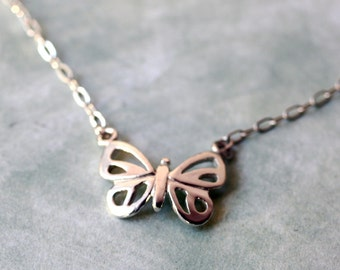 Petite Modern Sterling Silver Butterfly Necklace,  Handmade Minimalist Butterfly Jewelry, Silver Butterfly Jewelry