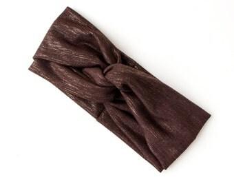 READY TO SHIP Turban Headband // Fashion Turban // Turband // Stretch Hairband // Hair Wrap // Brown with Gold Lurex