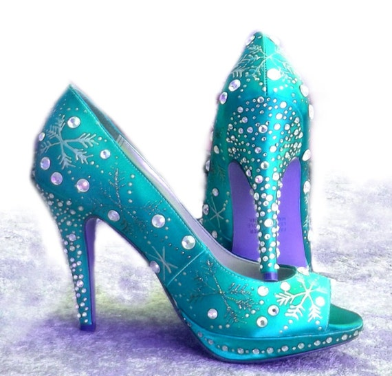 Wedding Shoes Snowflakes Winter Tiffany Blue Sparkle By