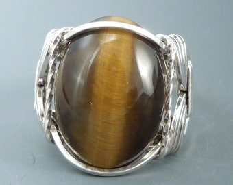 Handcrafted Sterling Silver Tiger's Eye Wire Wrapped Ring