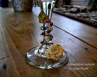 fancy wine charm with upcycled gold tone vintage rhinestone wine glass charm bling