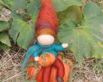 Elf atop a Pumpkin - needle felted gnome  - Waldorf Inspired Needle Felted Soft Sculpture made to order