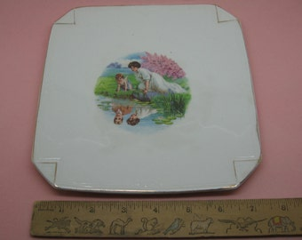 Antique Napkin Fold Plate with Exceptional Transfer Cupid and True Love