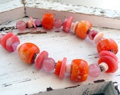 Orange Coral Cherry Quartz Melon Shell Sterling Silver Chunky OOAK Boho Bracelet