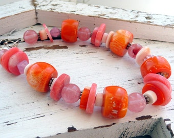Orange Coral Cherry Quartz Melon Shell Sterling Silver Chunky OOAK Boho Bracelet
