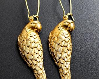Parrot Earrings, Parrot Jewelry, Brass Parrot, Pretty Parrot Brass Earrings