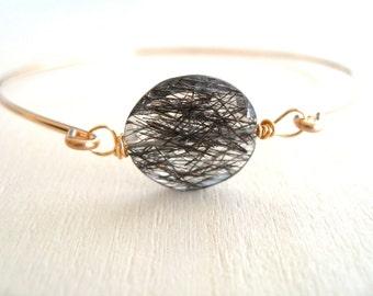 Quartz Stacking bangle Black and White Gold Tourmalinated quartz Black and White Gift for her Under 60