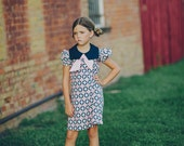 SALE!!!!!   Retro 1970s Style Navy blue and Pink Print Square collar  dress childrens child clothing