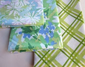 Vintage Sheet Fat Quarter Blue and Green Patterns Bundle of 3