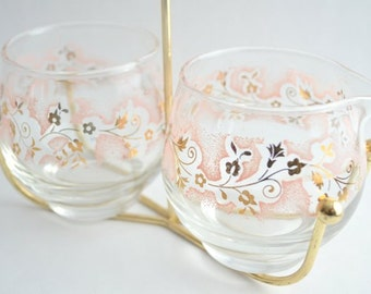 Vintage Libbey Pink and Gold Cream and Sugar with Caddy
