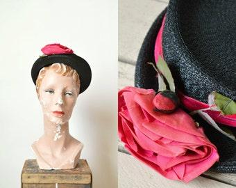 1940s Black Straw Hat --- Vintage Floral Christine Original Hat