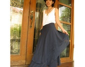Custom Made Midnight Blue cotton Boho Hippie Gypsy Two Layers Circle Long Wrap Skirt S-L (H)