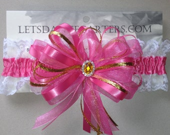 Hot Pink Gold Prom Homecoming Garter with lace