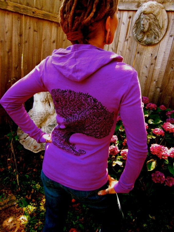 Womens Plum Purple Spiral Tree of Life Waterlily Flower Celtic Hoodie Double Sided Sm & M