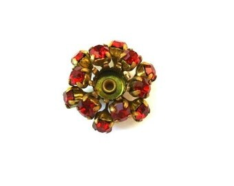 SWAROVSKI BEADS antique vintage  metal flower with dark red crystals- RARE