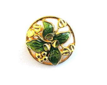 Vintage button flower shape enamel metal 26mm- green