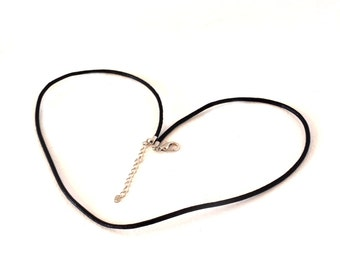 Black Leather Cord Necklace 18 inch