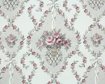 1940s Vintage Wallpaper by the Yard - Floral Wallpaper with Pink Roses in Baskets Damask