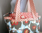 Diaper/ Zippered Expandable Tote in Amy Butler  Morning Glory