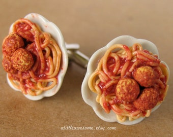 Spaghetti and Meatball CuffLinks, Italian Cufflinks, Food Cufflinks, Pasta Cufflinks, Clay Food Jewelry
