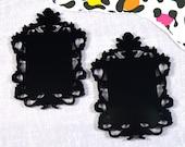 BLACK FILIGREE CAMEOS - Ornate Rectangle Frame Settings - Laser Cut Acrylic