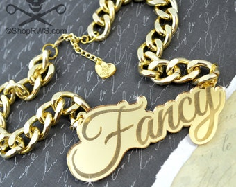 FANCY GIRL - Gold Mirror - Laser Cut Acrylic - Engraved Necklace