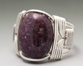 Lepidolite Cabochon Sterling Silver Wire Wrapped Ring - Made to Order & Ships Fast!