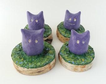 Blue Ceramic Monster on Wood Slice, Cute Ceramic Figurine